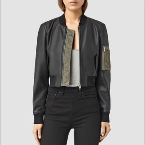 NWT All Saints Wells Bomber Jacket (Black/Khaki)